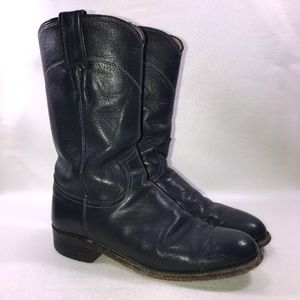 Justin Shortie Navy Leather Riding Boots 5B